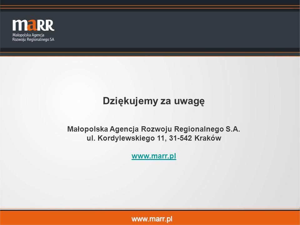 www.marr.pl Dziękujemy za uwagę Małopolska Agencja Rozwoju Regionalnego S.A. ul. Kordylewskiego 11, 31-542 Kraków www.marr.pl
