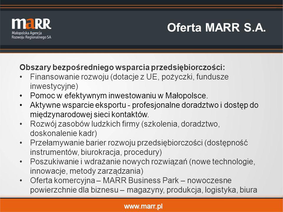 www.marr.pl Oferta MARR S.A. Obszary bezpośredniego wsparcia przedsiębiorczości: Finansowanie rozwoju (dotacje z UE, pożyczki, fundusze inwestycyjne)