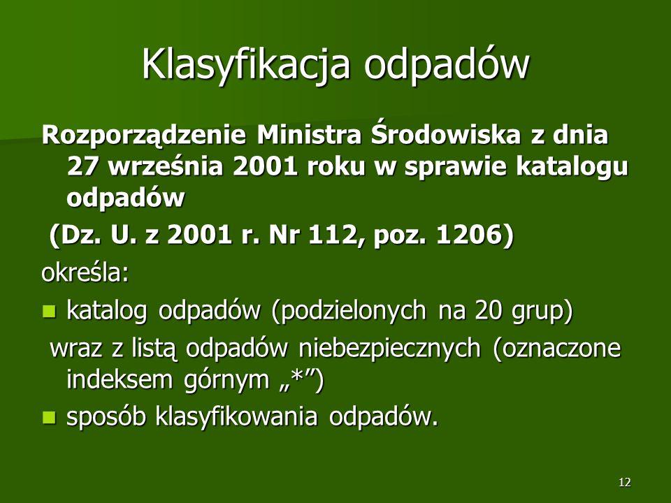 12 Klasyfikacja odpadów Rozporządzenie Ministra Środowiska z dnia 27 września 2001 roku w sprawie katalogu odpadów (Dz. U. z 2001 r. Nr 112, poz. 1206