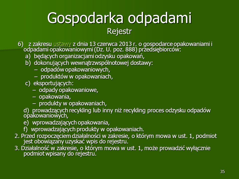 35 Gospodarka odpadami Rejestr 6) z zakresu ustawy z dnia 13 czerwca 2013 r. o gospodarce opakowaniami i odpadami opakowaniowymi (Dz. U. poz. 888) prz
