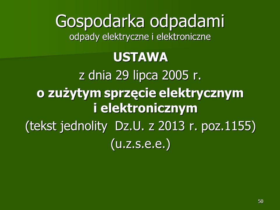 50 Gospodarka odpadami odpady elektryczne i elektroniczne USTAWA z dnia 29 lipca 2005 r. o zużytym sprzęcie elektrycznym i elektronicznym (tekst jedno