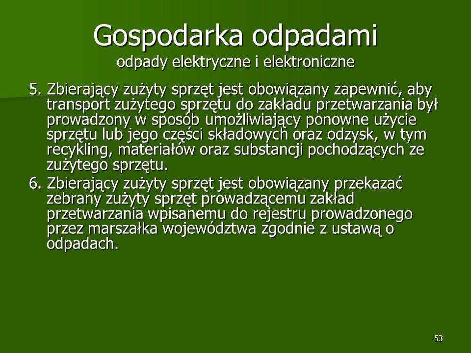 53 Gospodarka odpadami odpady elektryczne i elektroniczne 5. Zbierający zużyty sprzęt jest obowiązany zapewnić, aby transport zużytego sprzętu do zakł