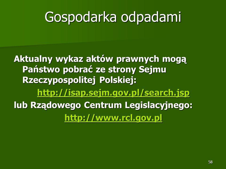 58 Gospodarka odpadami Aktualny wykaz aktów prawnych mogą Państwo pobrać ze strony Sejmu Rzeczypospolitej Polskiej: http://isap.sejm.gov.pl/search.jsp