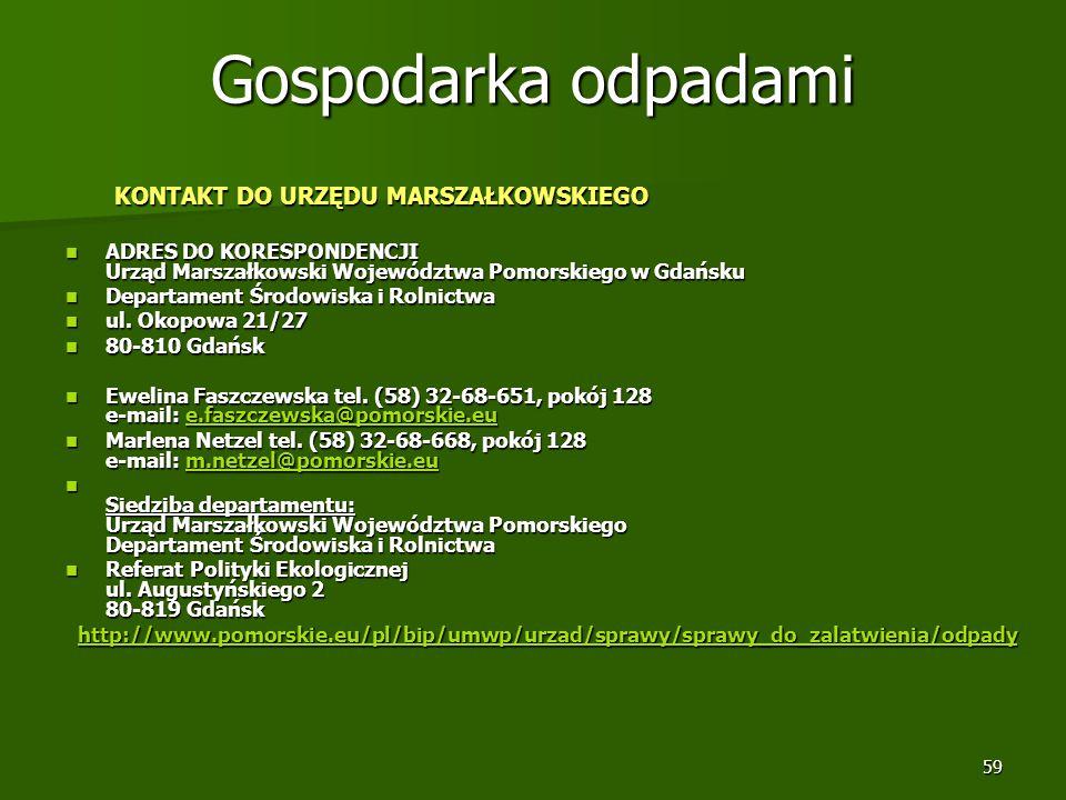 59 Gospodarka odpadami KONTAKT DO URZĘDU MARSZAŁKOWSKIEGO KONTAKT DO URZĘDU MARSZAŁKOWSKIEGO ADRES DO KORESPONDENCJI Urząd Marszałkowski Województwa P