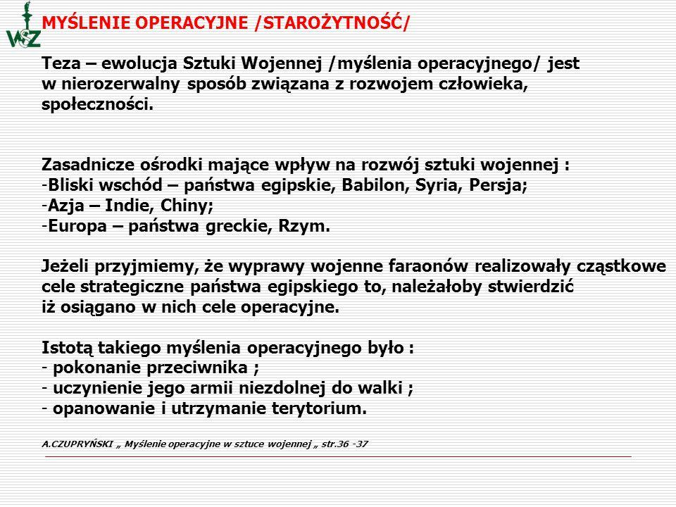 OPERACJA - całokształt działań wojsk (walk, bitew, przegrupowań i manewrów) oraz przedsięwzięć organizacyjnych i zabezpieczających realizowanych w różnym czasie i na znacznej przestrzeni połączonych wspólnym celem i planem Mała Encyklopedia, Warszawa 1970 OPERACJĘ - całokształt poczynań organizacyjno- wykonawczych, uderzeń ogniowych, walk i bitew oraz manewrów wykonywanych samodzielnie, a najczęściej wspólnym wysiłkiem związków operacyjnych różnych rodzajów wojsk i sił zbrojnych, rozdzielonych w czasie i przestrzeni, połączonych wspólną myślą przewodnią, mających do osiągnięcia konkretny cel operacyjny lub strategiczny K.