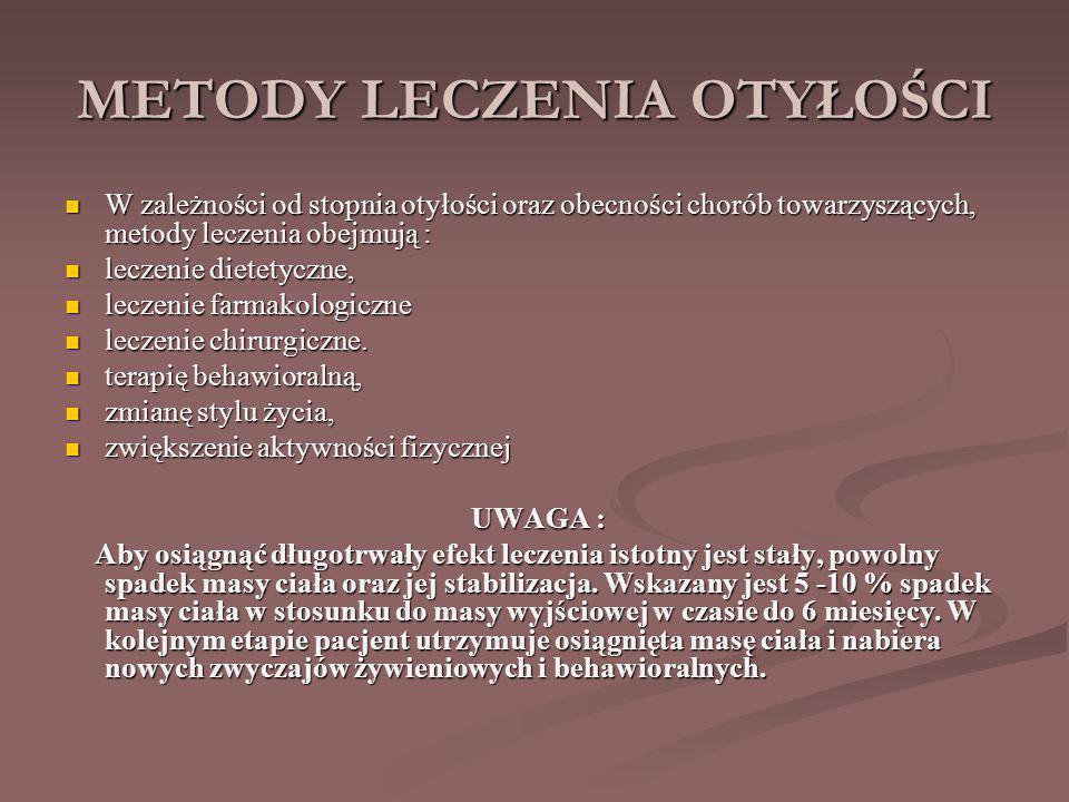 METODY LECZENIA OTYŁOŚCI W zależności od stopnia otyłości oraz obecności chorób towarzyszących, metody leczenia obejmują : W zależności od stopnia otyłości oraz obecności chorób towarzyszących, metody leczenia obejmują : leczenie dietetyczne, leczenie dietetyczne, leczenie farmakologiczne leczenie farmakologiczne leczenie chirurgiczne.