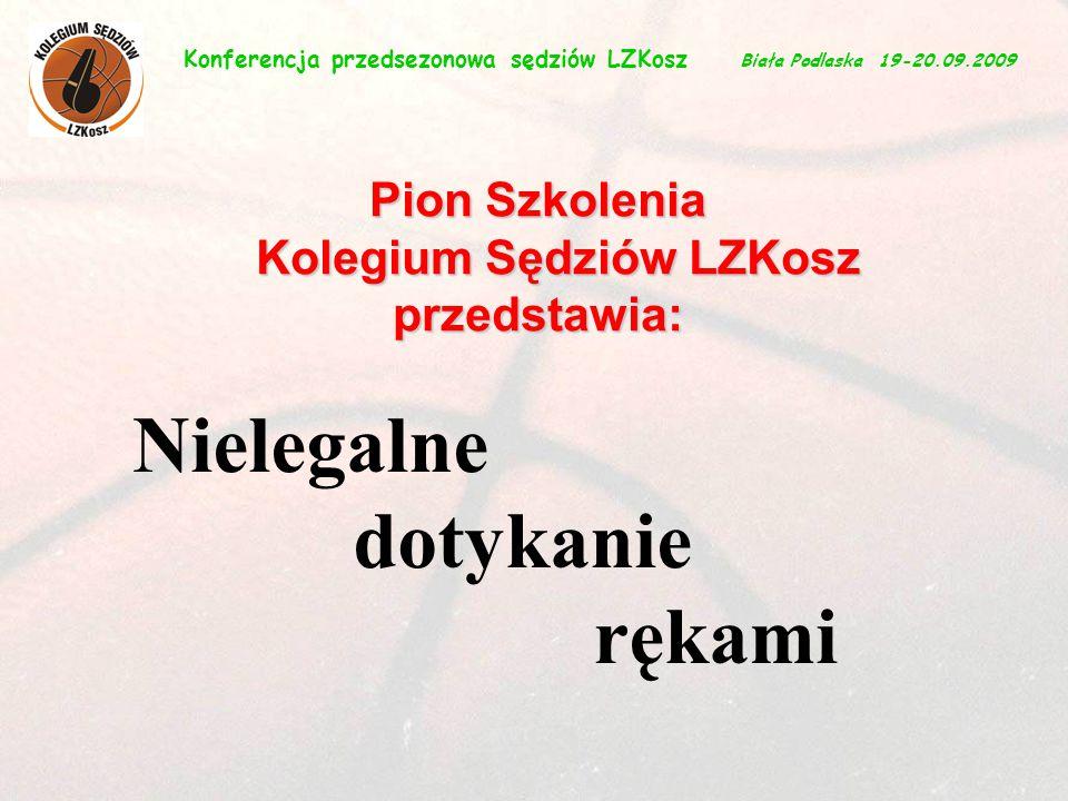 1 Nielegalne dotykanie rękami Konferencja przedsezonowa sędziów LZKosz Biała Podlaska 19-20.09.2009 Pion Szkolenia Kolegium Sędziów LZKosz przedstawia: