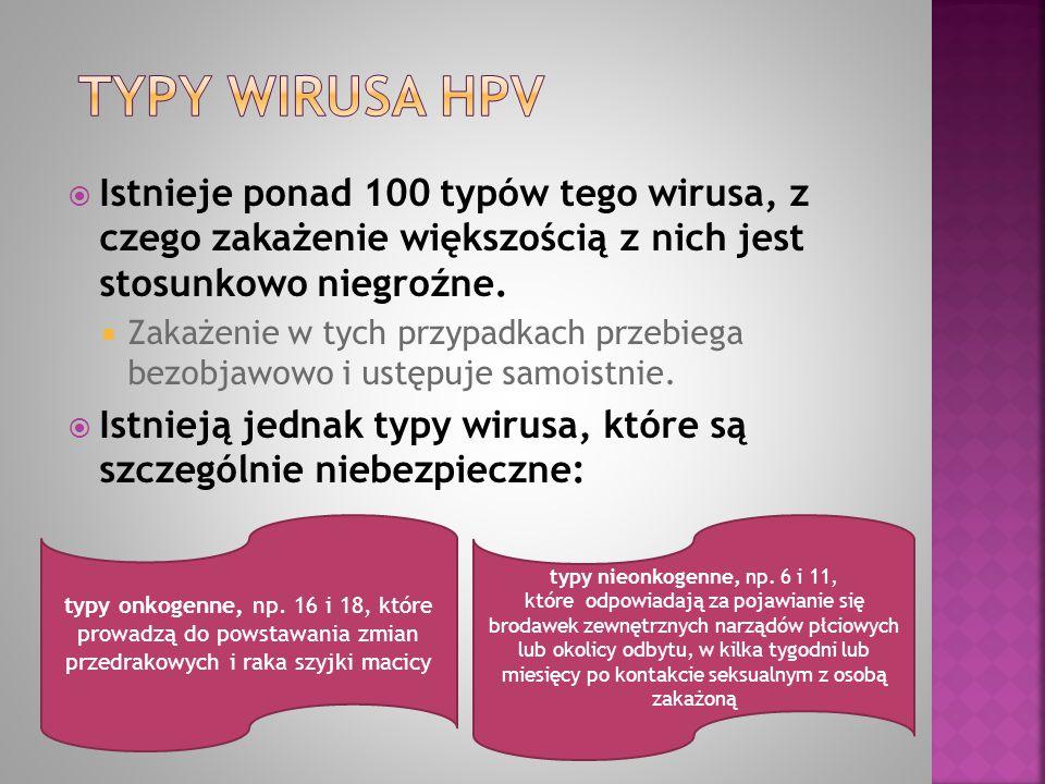  Istnieje ponad 100 typów tego wirusa, z czego zakażenie większością z nich jest stosunkowo niegroźne.  Zakażenie w tych przypadkach przebiega bezob