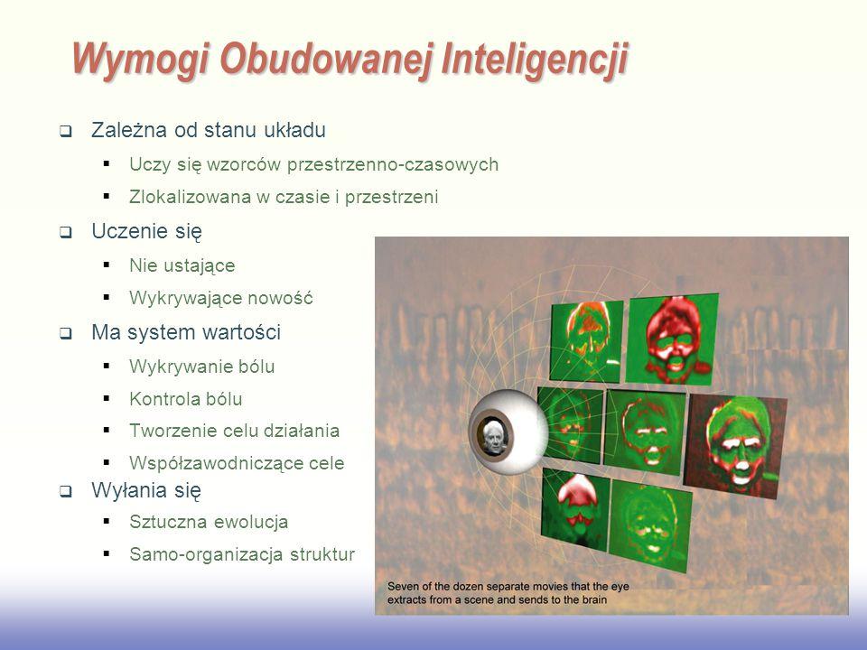 EE141 Wymogi Obudowanej Inteligencji  Zależna od stanu układu  Uczy się wzorców przestrzenno-czasowych  Zlokalizowana w czasie i przestrzeni  Uczenie się  Nie ustające  Wykrywające nowość  Ma system wartości  Wykrywanie bólu  Kontrola bólu  Tworzenie celu działania  Współzawodniczące cele  Wyłania się  Sztuczna ewolucja  Samo-organizacja struktur