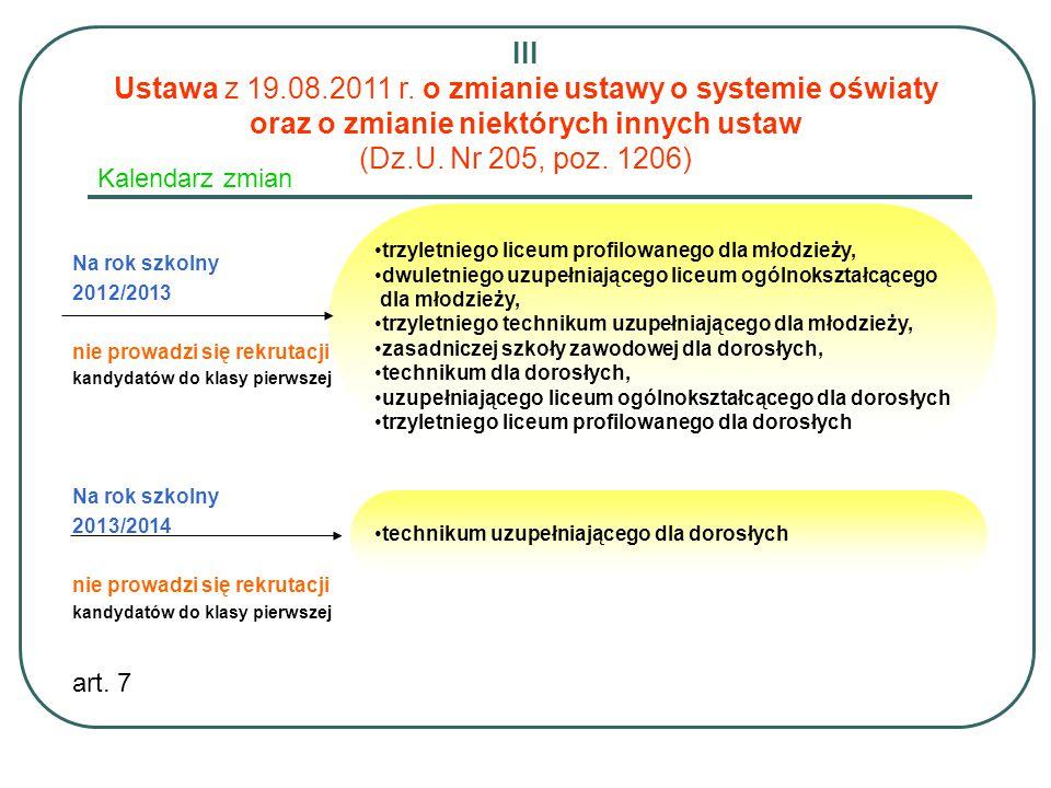 Kalendarz zmian Na rok szkolny 2012/2013 nie prowadzi się rekrutacji kandydatów do klasy pierwszej Na rok szkolny 2013/2014 nie prowadzi się rekrutacj