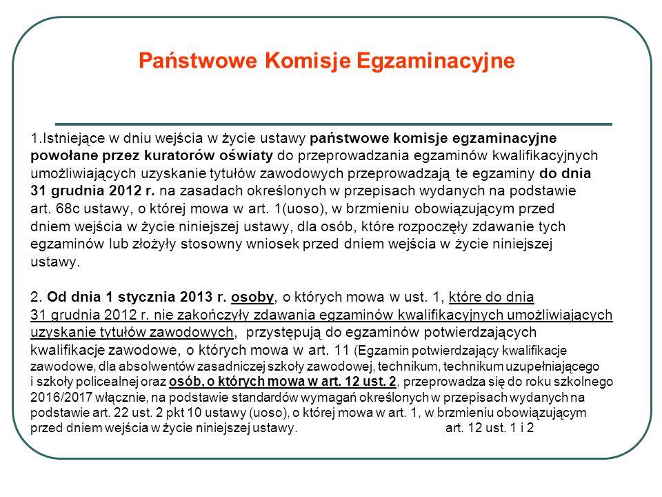 Państwowe Komisje Egzaminacyjne 1.Istniejące w dniu wejścia w życie ustawy państwowe komisje egzaminacyjne powołane przez kuratorów oświaty do przeprowadzania egzaminów kwalifikacyjnych umożliwiających uzyskanie tytułów zawodowych przeprowadzają te egzaminy do dnia 31 grudnia 2012 r.