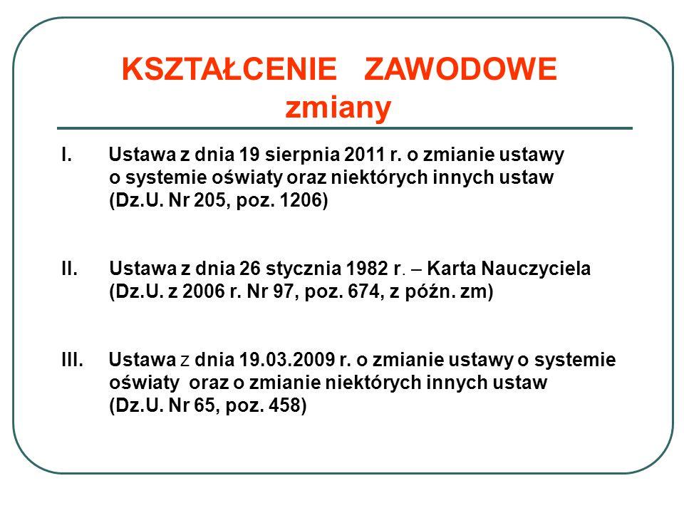 KSZTAŁCENIE ZAWODOWE zmiany I.Ustawa z dnia 19 sierpnia 2011 r.