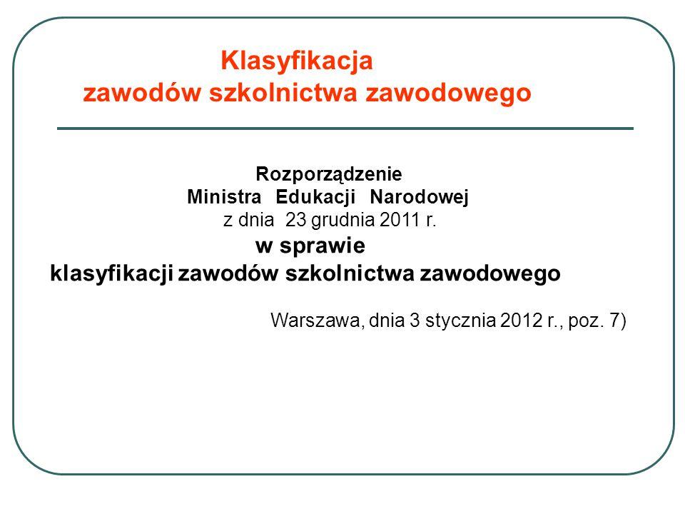 Klasyfikacja zawodów szkolnictwa zawodowego Rozporządzenie Ministra Edukacji Narodowej z dnia 23 grudnia 2011 r. w sprawie klasyfikacji zawodów szkoln