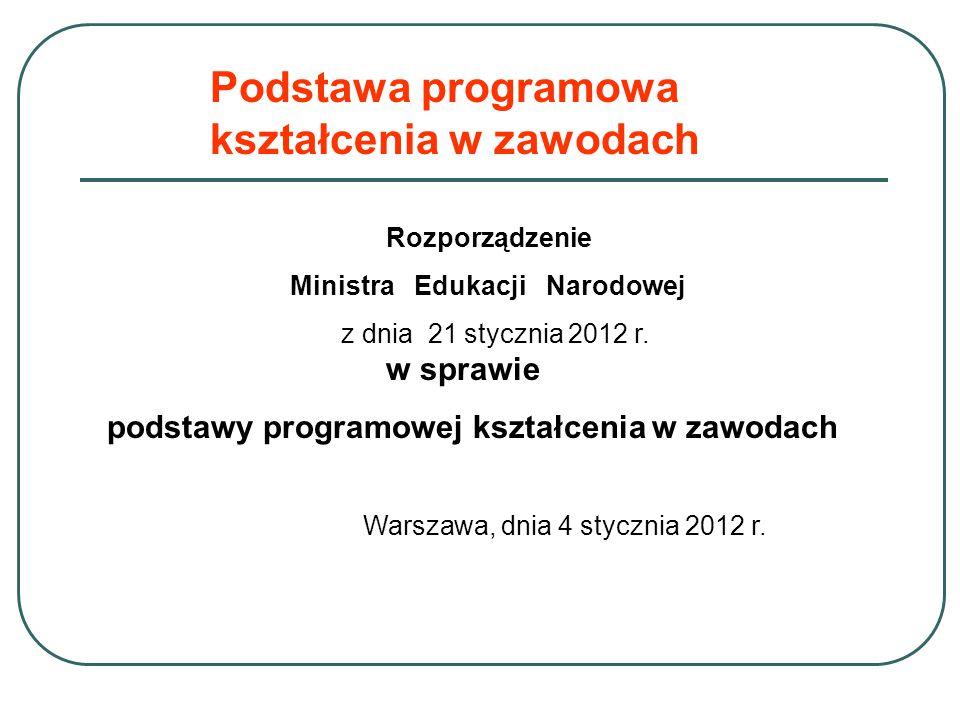 Rozporządzenie Ministra Edukacji Narodowej z dnia 21 stycznia 2012 r. w sprawie podstawy programowej kształcenia w zawodach Warszawa, dnia 4 stycznia