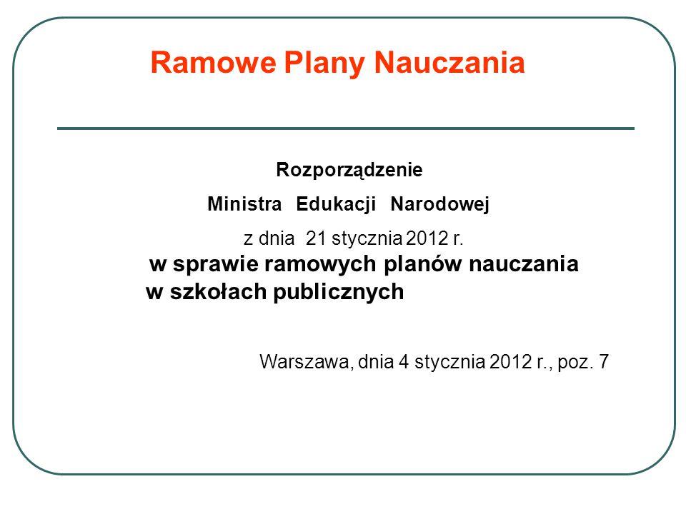 Ramowe Plany Nauczania Rozporządzenie Ministra Edukacji Narodowej z dnia 21 stycznia 2012 r. w sprawie ramowych planów nauczania w szkołach publicznyc