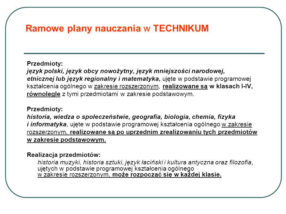 Ramowe plany nauczania w TECHNIKUM Przedmioty: język polski, język obcy nowożytny, język mniejszości narodowej, etnicznej lub język regionalny i matematyka, ujęte w podstawie programowej kształcenia ogólnego w zakresie rozszerzonym, realizowane są w klasach I-IV, równolegle z tymi przedmiotami w zakresie podstawowym.