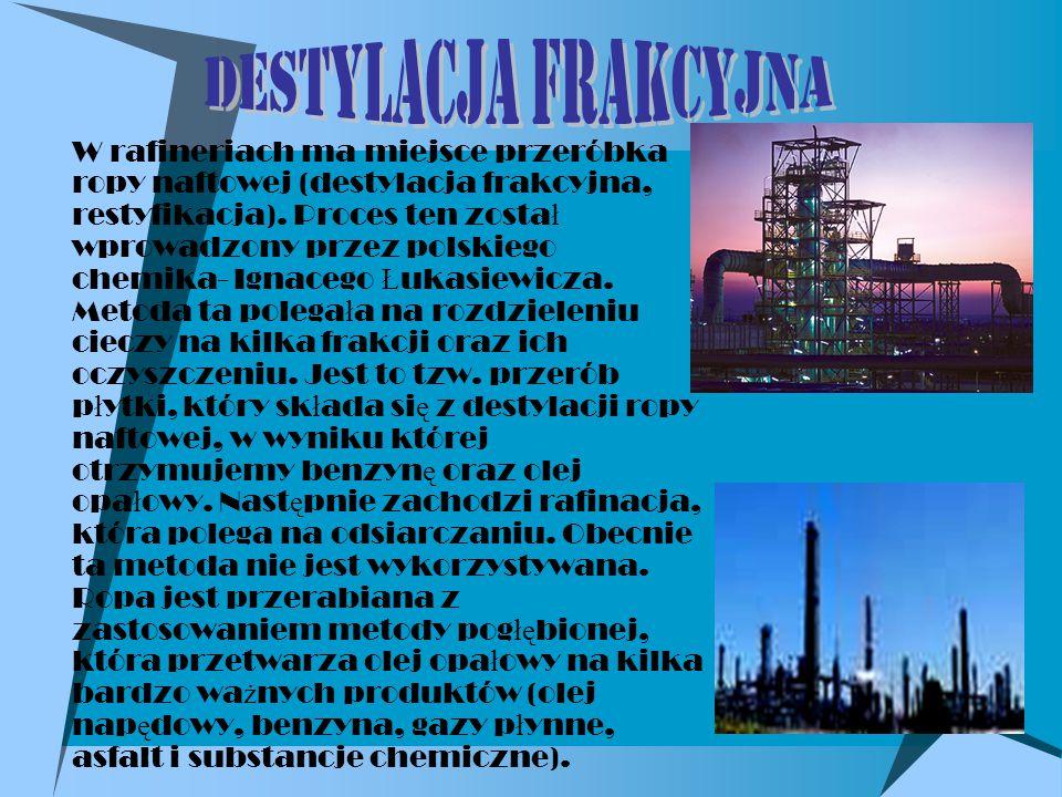  W rafineriach ma miejsce przeróbka ropy naftowej (destylacja frakcyjna, restyfikacja).