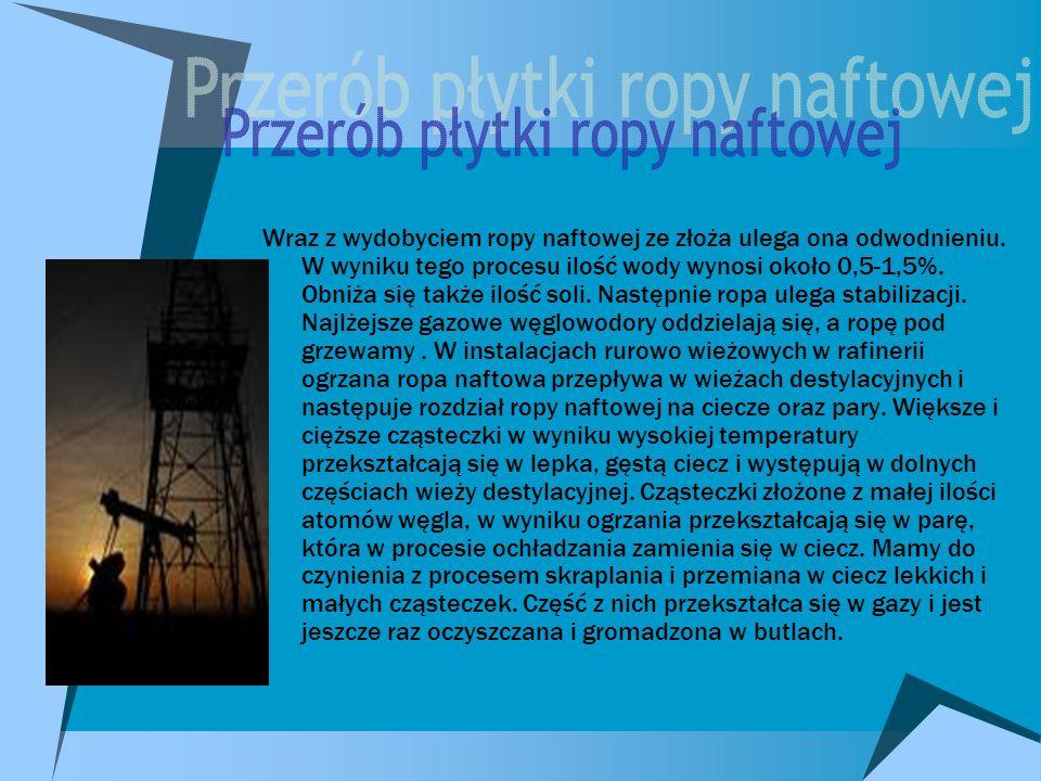 Wraz z wydobyciem ropy naftowej ze złoża ulega ona odwodnieniu.