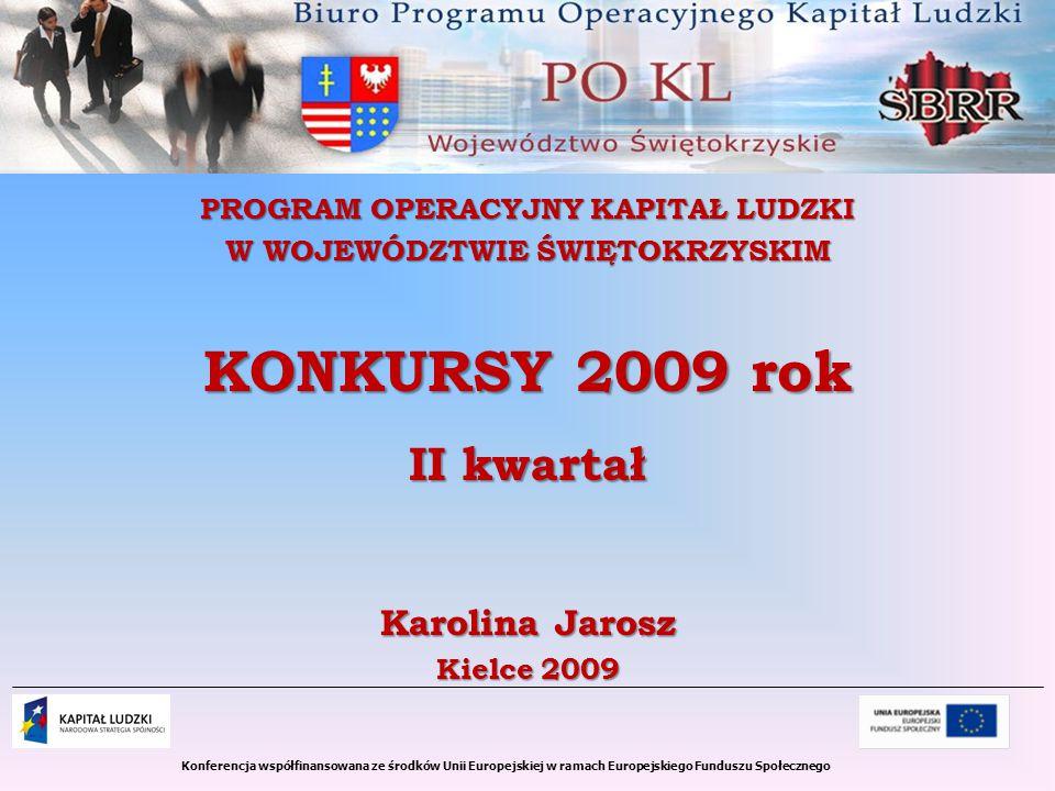 Konferencja współfinansowana ze środków Unii Europejskiej w ramach Europejskiego Funduszu Społecznego PROGRAM OPERACYJNY KAPITAŁ LUDZKI W WOJEWÓDZTWIE ŚWIĘTOKRZYSKIM KONKURSY 2009 rok II kwartał Karolina Jarosz Kielce 2009