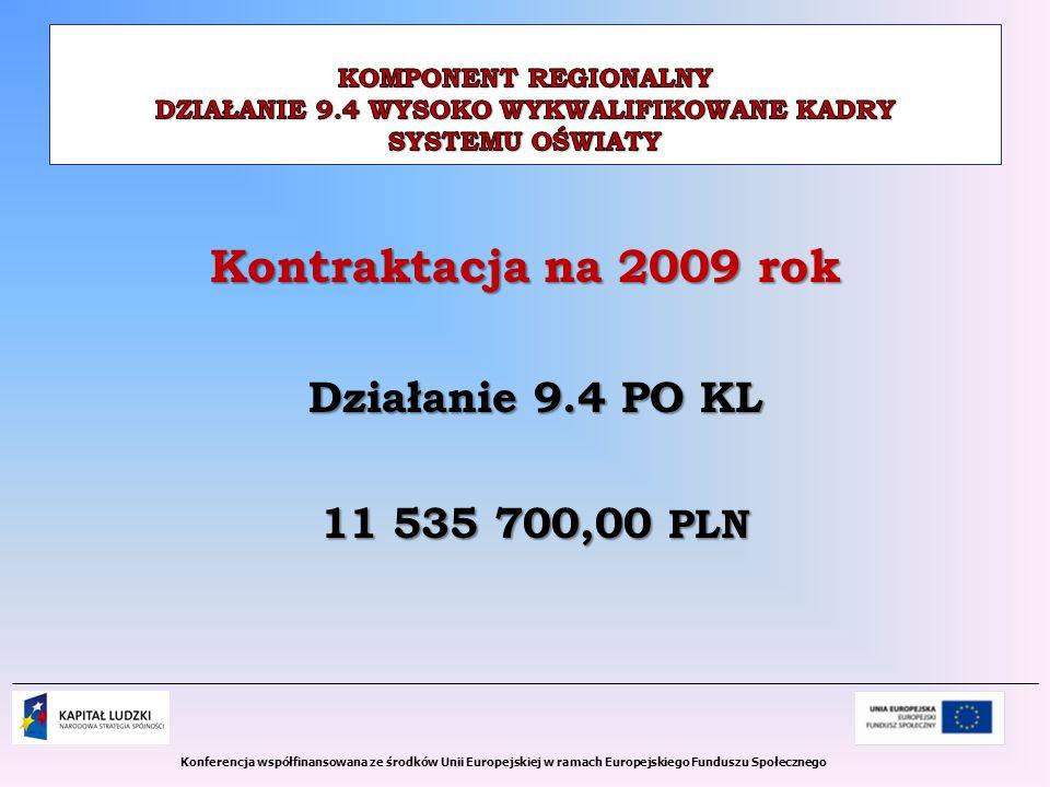 Kontraktacja na 2009 rok Działanie 9.4 PO KL 11 535 700,00 PLN