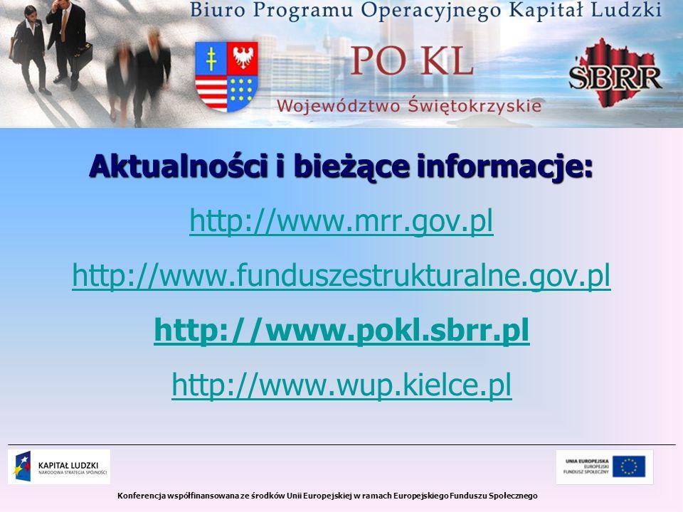 Konferencja współfinansowana ze środków Unii Europejskiej w ramach Europejskiego Funduszu Społecznego Aktualności i bieżące informacje: http://www.mrr.gov.pl http://www.funduszestrukturalne.gov.pl http://www.pokl.sbrr.pl http://www.wup.kielce.pl
