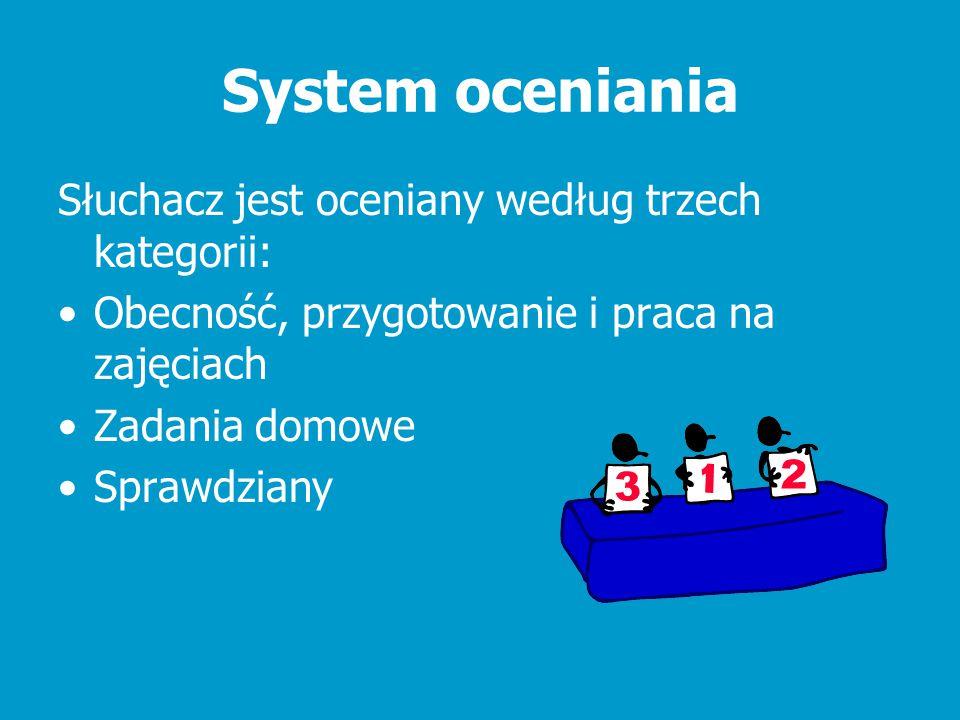 System oceniania Słuchacz jest oceniany według trzech kategorii: Obecność, przygotowanie i praca na zajęciach Zadania domowe Sprawdziany