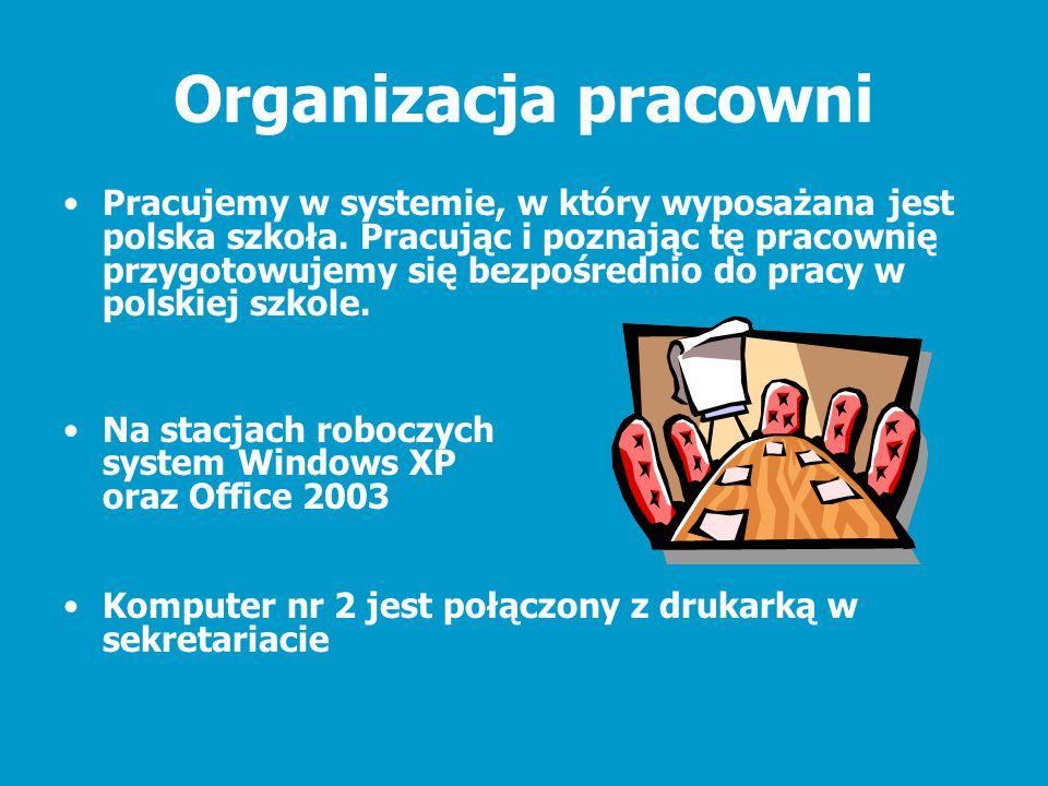 Organizacja pracowni Pracujemy w systemie, w który wyposażana jest polska szkoła. Pracując i poznając tę pracownię przygotowujemy się bezpośrednio do