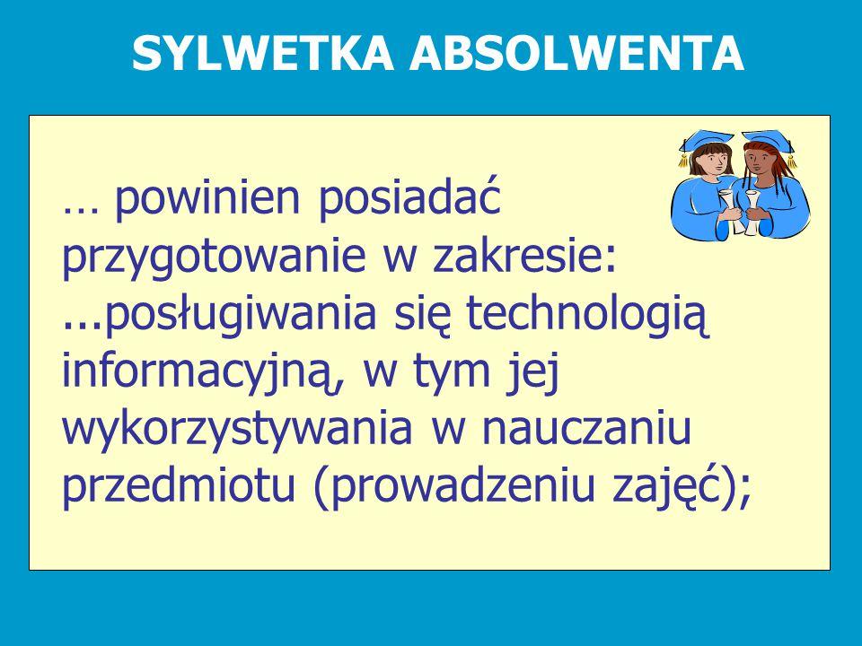 SYLWETKA ABSOLWENTA... powinien posiadać przygotowanie w zakresie:...posługiwania się technologią informacyjną, w tym jej wykorzystywania w nauczaniu