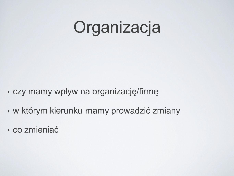 Organizacja czy mamy wpływ na organizację/firmę w którym kierunku mamy prowadzić zmiany co zmieniać