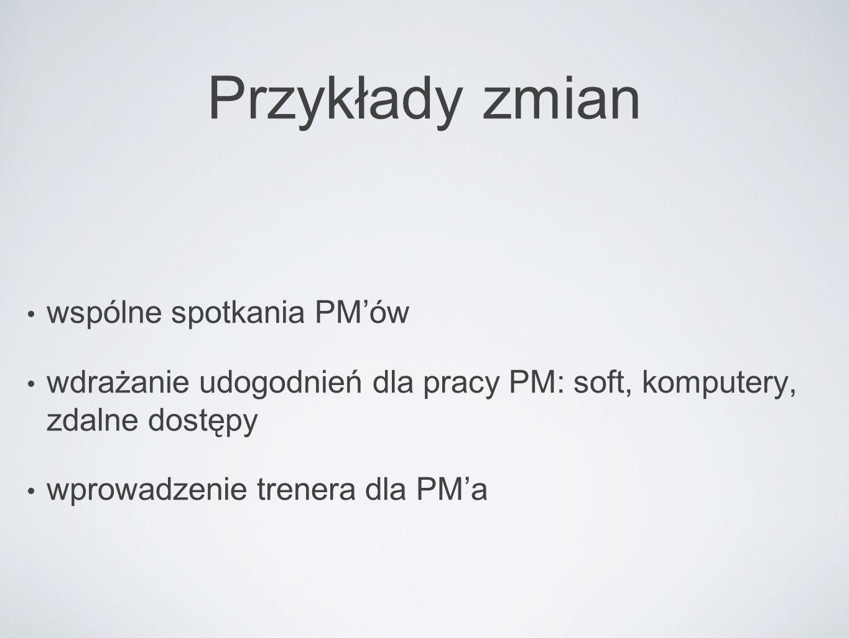 Przykłady zmian wspólne spotkania PM'ów wdrażanie udogodnień dla pracy PM: soft, komputery, zdalne dostępy wprowadzenie trenera dla PM'a