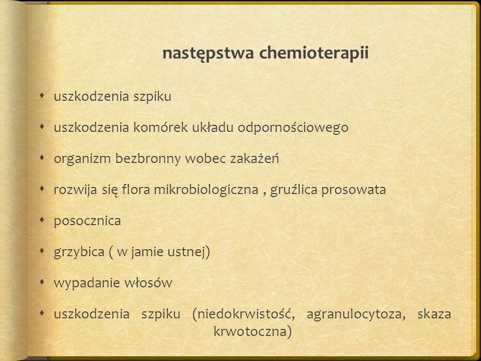 następstwa chemioterapii  uszkodzenia szpiku  uszkodzenia komórek układu odpornościowego  organizm bezbronny wobec zakażeń  rozwija się flora mikrobiologiczna, gruźlica prosowata  posocznica  grzybica ( w jamie ustnej)  wypadanie włosów  uszkodzenia szpiku (niedokrwistość, agranulocytoza, skaza krwotoczna)