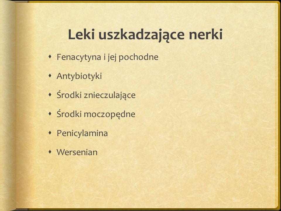 Leki powodujące nadżerki lub ostre wrzody żołądka  Cytostatykami  Steroidami  Kwas emsalicylowym  Butalozilina