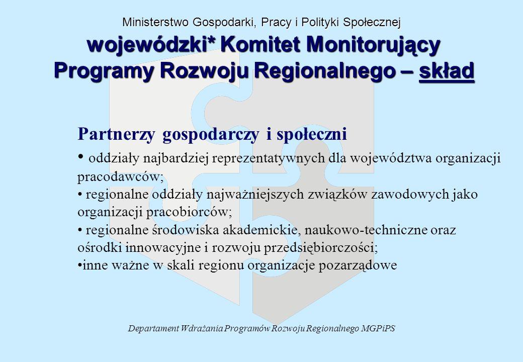 Departament Wdrażania Programów Rozwoju Regionalnego MGPiPS Partnerzy gospodarczy i społeczni oddziały najbardziej reprezentatywnych dla województwa o