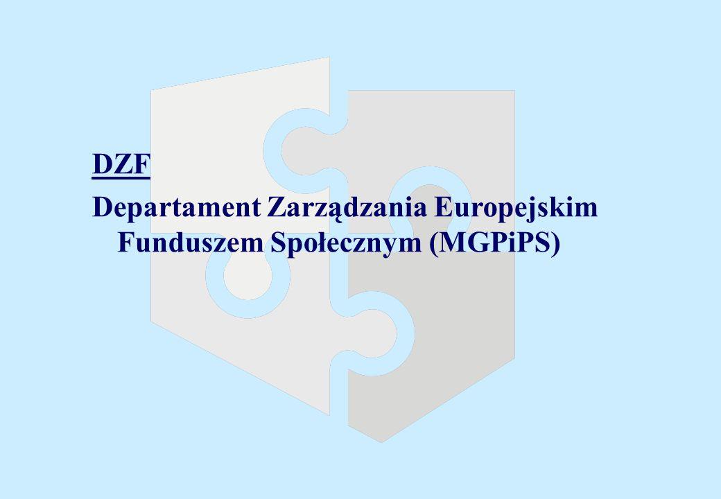 DZF Departament Zarządzania Europejskim Funduszem Społecznym (MGPiPS)