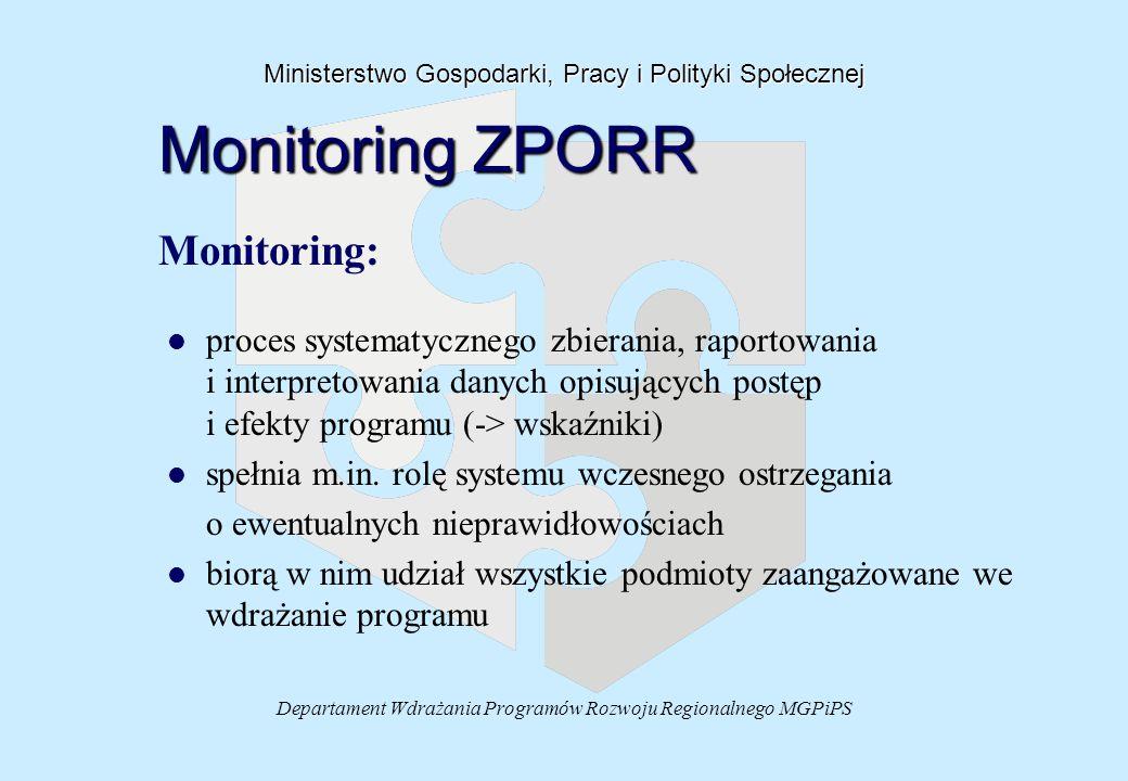 Departament Wdrażania Programów Rozwoju Regionalnego MGPiPS Ministerstwo Gospodarki, Pracy i Polityki Społecznej Monitoring ZPORR Monitoring: l l proc