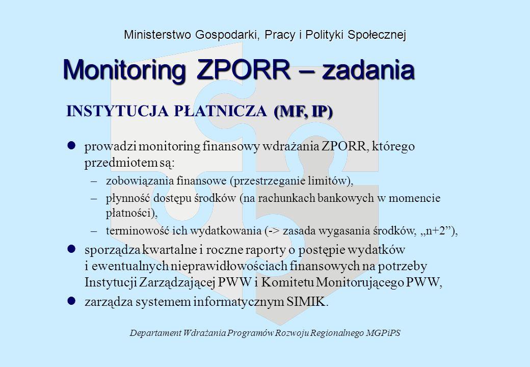 """Departament Wdrażania Programów Rozwoju Regionalnego MGPiPS Ministerstwo Gospodarki, Pracy i Polityki Społecznej Monitoring ZPORR – zadania (MF, IP) INSTYTUCJA PŁATNICZA (MF, IP) l lprowadzi monitoring finansowy wdrażania ZPORR, którego przedmiotem są: – –zobowiązania finansowe (przestrzeganie limitów), – –płynność dostępu środków (na rachunkach bankowych w momencie płatności), – –terminowość ich wydatkowania (-> zasada wygasania środków, """"n+2 ), l lsporządza kwartalne i roczne raporty o postępie wydatków i ewentualnych nieprawidłowościach finansowych na potrzeby Instytucji Zarządzającej PWW i Komitetu Monitorującego PWW, l lzarządza systemem informatycznym SIMIK."""
