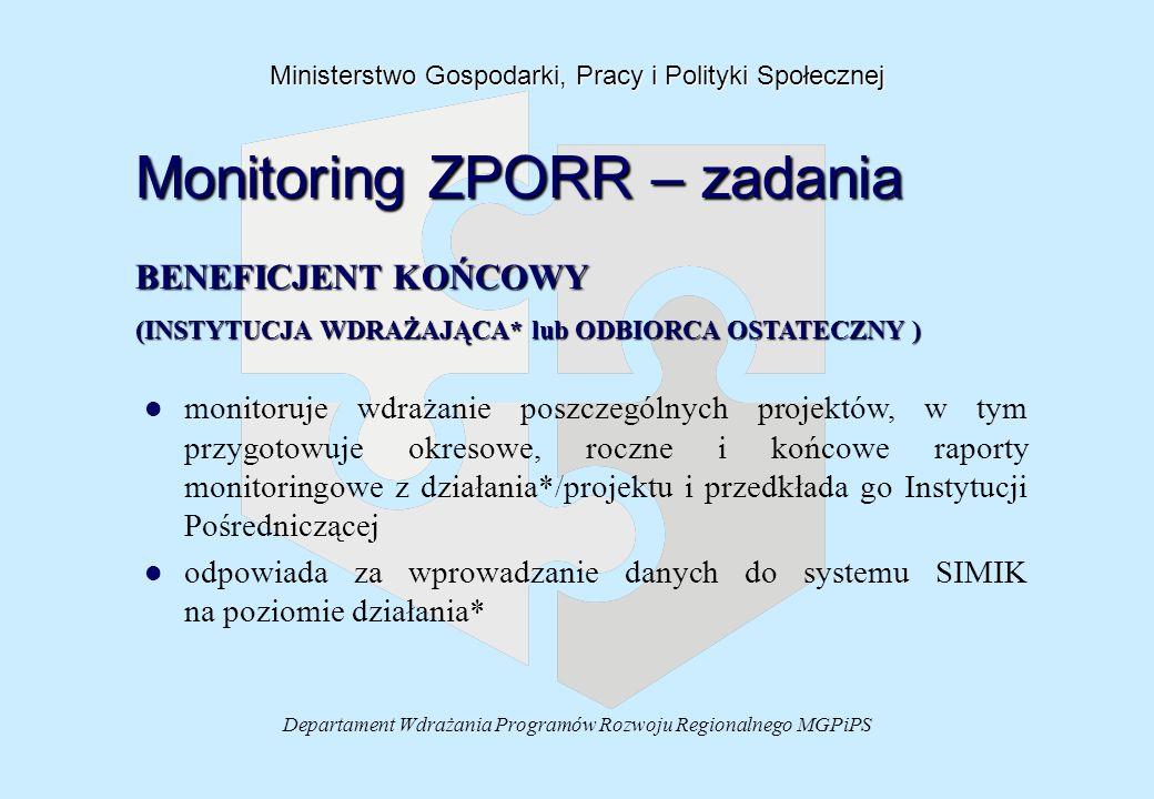 Departament Wdrażania Programów Rozwoju Regionalnego MGPiPS Ministerstwo Gospodarki, Pracy i Polityki Społecznej Monitoring ZPORR – zadania BENEFICJENT KOŃCOWY (INSTYTUCJA WDRAŻAJĄCA* lub ODBIORCA OSTATECZNY ) l l monitoruje wdrażanie poszczególnych projektów, w tym przygotowuje okresowe, roczne i końcowe raporty monitoringowe z działania*/projektu i przedkłada go Instytucji Pośredniczącej l l odpowiada za wprowadzanie danych do systemu SIMIK na poziomie działania*