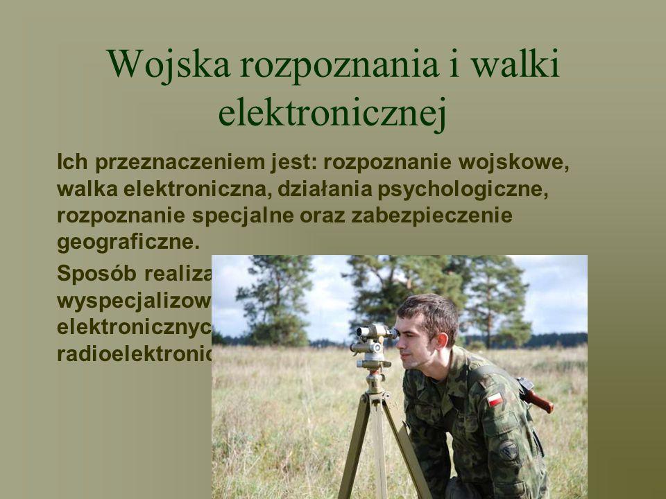 Wojska rozpoznania i walki elektronicznej Ich przeznaczeniem jest: rozpoznanie wojskowe, walka elektroniczna, działania psychologiczne, rozpoznanie sp