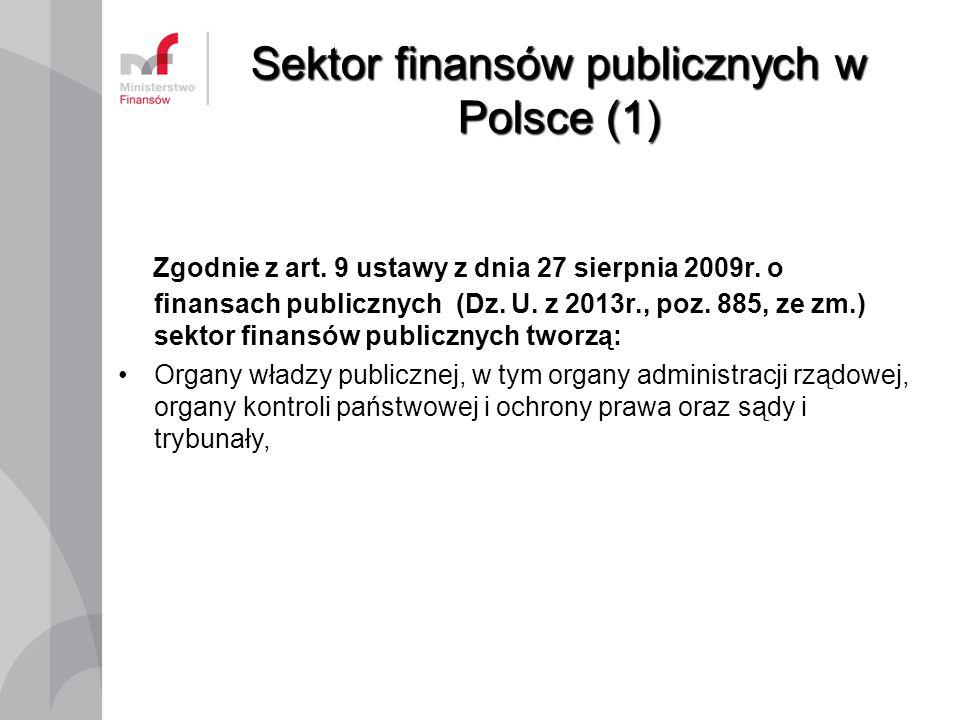 Sektor finansów publicznych w Polsce (1) Zgodnie z art. 9 ustawy z dnia 27 sierpnia 2009r. o finansach publicznych (Dz. U. z 2013r., poz. 885, ze zm.)