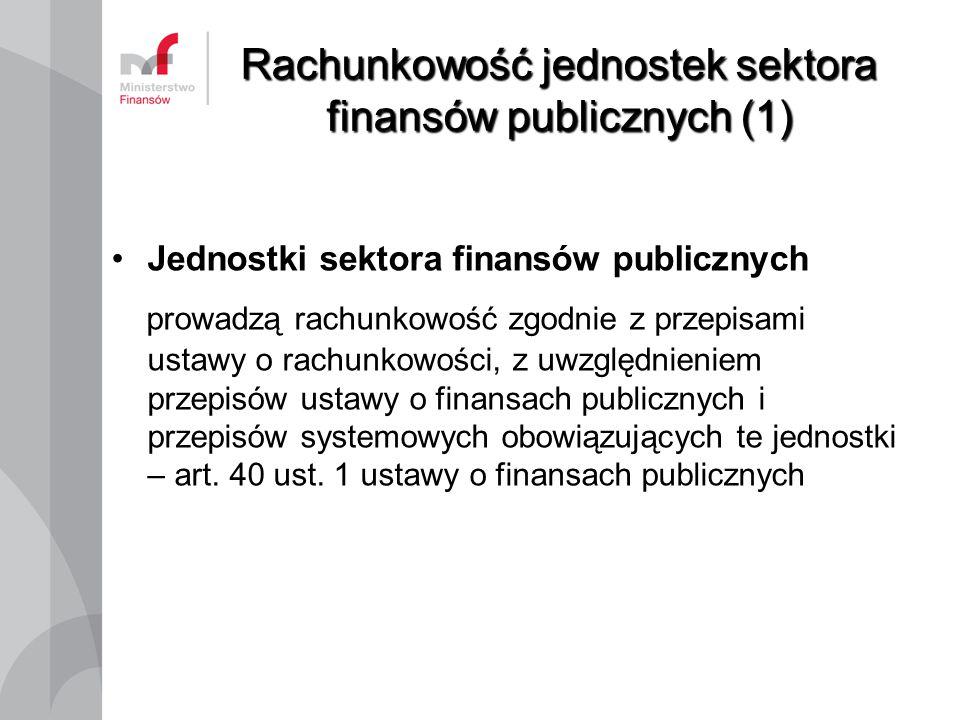 Rachunkowość jednostek sektora finansów publicznych (1) Jednostki sektora finansów publicznych prowadzą rachunkowość zgodnie z przepisami ustawy o rac