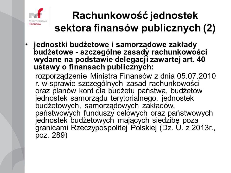Rachunkowość jednostek sektora finansów publicznych (2) jednostki budżetowe i samorządowe zakłady budżetowe - szczególne zasady rachunkowości wydane n