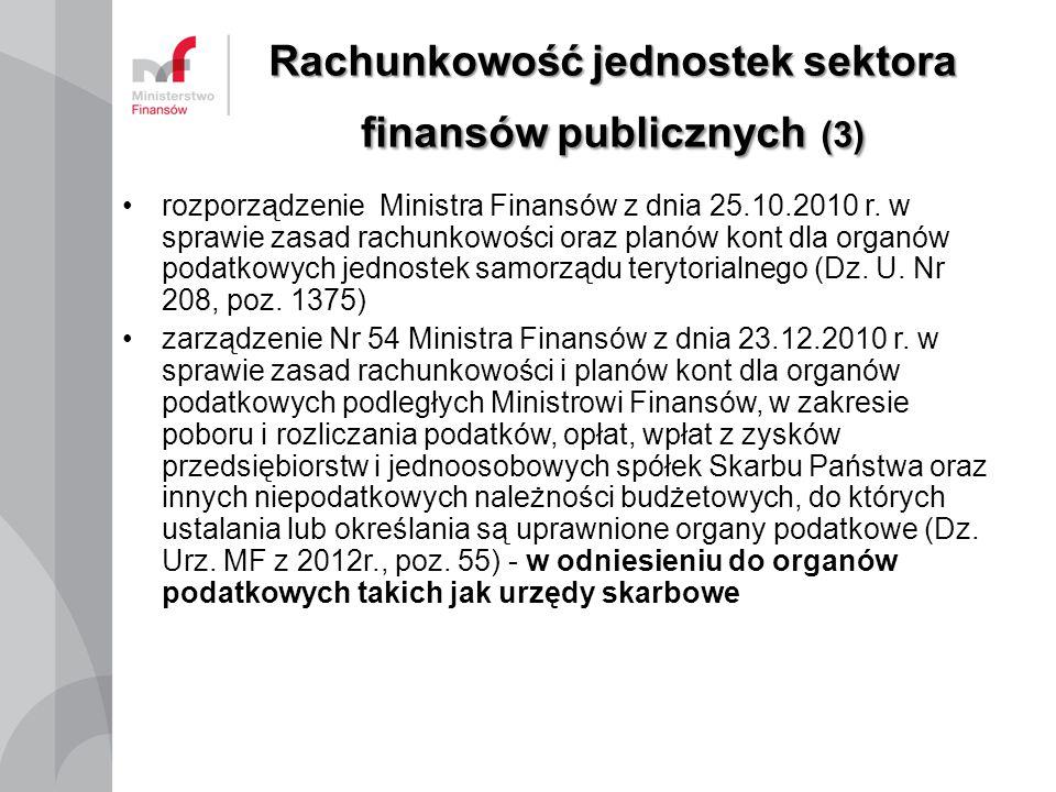 Rachunkowość jednostek sektora finansów publicznych (3) rozporządzenie Ministra Finansów z dnia 25.10.2010 r. w sprawie zasad rachunkowości oraz planó