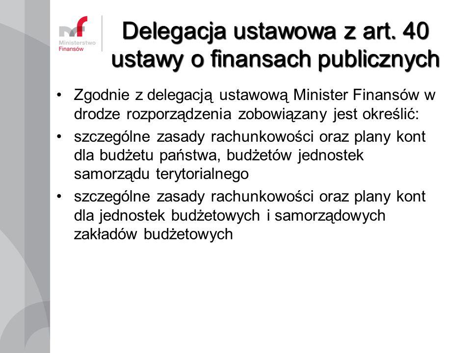 Delegacja ustawowa z art. 40 ustawy o finansach publicznych Zgodnie z delegacją ustawową Minister Finansów w drodze rozporządzenia zobowiązany jest ok