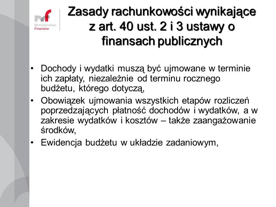 Zasady rachunkowości wynikające z art. 40 ust. 2 i 3 ustawy o finansach publicznych Dochody i wydatki muszą być ujmowane w terminie ich zapłaty, nieza