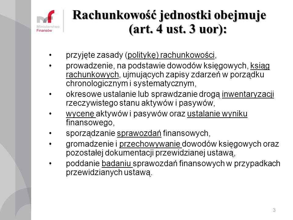 Rachunkowość jednostki obejmuje (art. 4 ust. 3 uor): przyjęte zasady (politykę) rachunkowości, prowadzenie, na podstawie dowodów księgowych, ksiąg rac