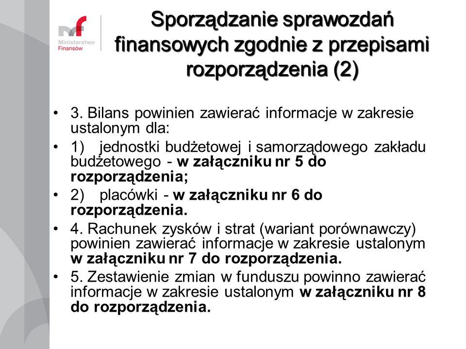 Sporządzanie sprawozdań finansowych zgodnie z przepisami rozporządzenia (2) 3. Bilans powinien zawierać informacje w zakresie ustalonym dla: 1)jednost