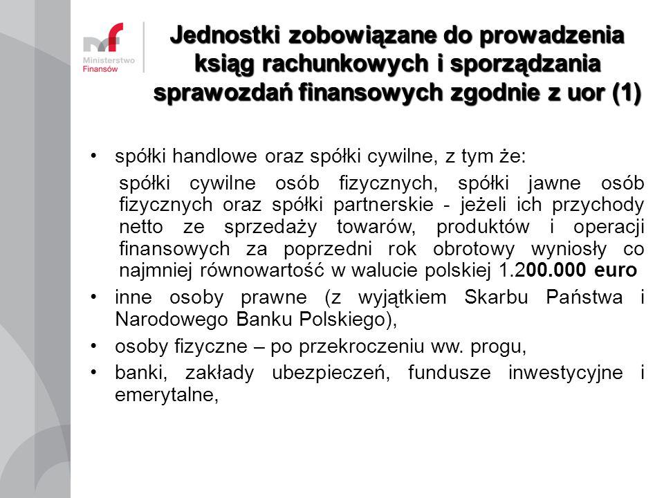 Jednostki zobowiązane do prowadzenia ksiąg rachunkowych i sporządzania sprawozdań finansowych zgodnie z uor (1) spółki handlowe oraz spółki cywilne, z