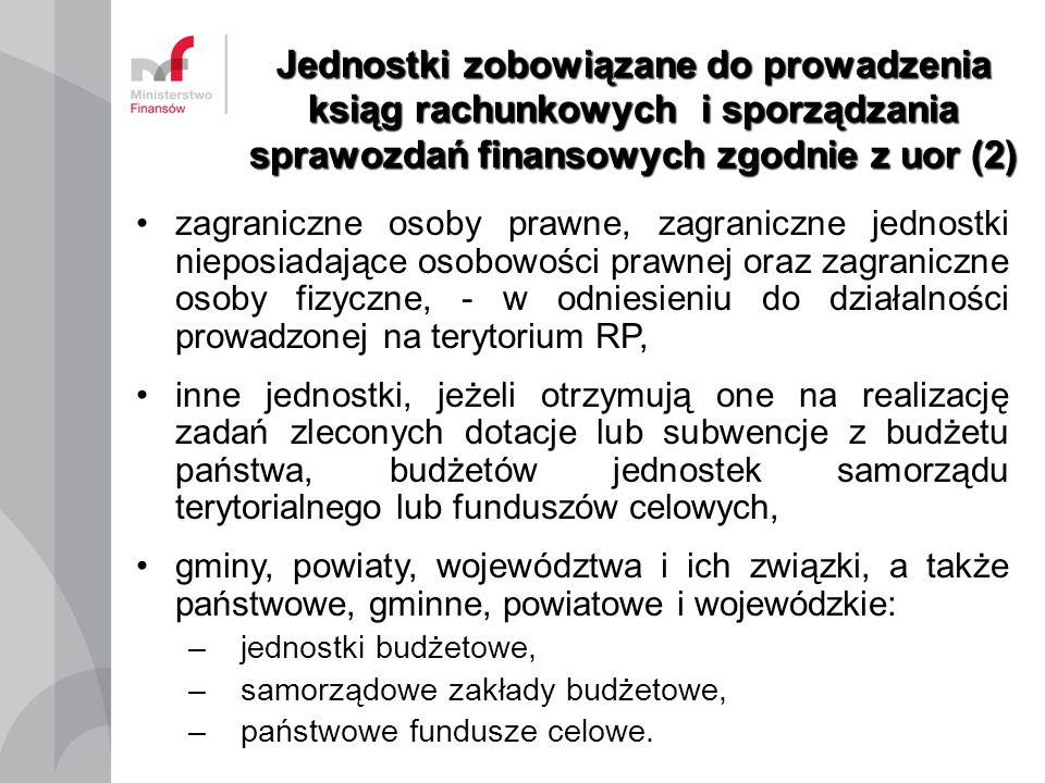 Jednostki zobowiązane do prowadzenia ksiąg rachunkowych i sporządzania sprawozdań finansowych zgodnie z uor (2) zagraniczne osoby prawne, zagraniczne