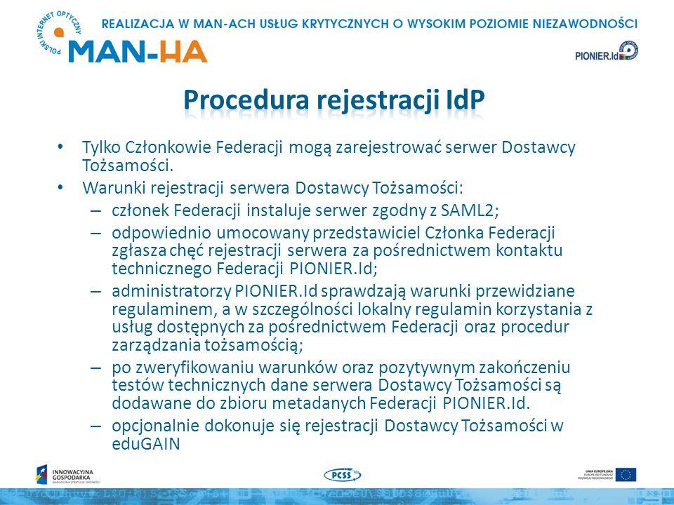 Tylko Członkowie Federacji mogą zarejestrować serwer Dostawcy Tożsamości.