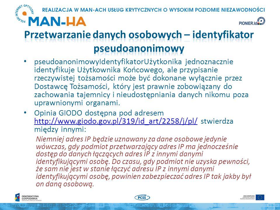 pseudoanonimowyIdentyfikatorUżytkonika jednoznacznie identyfikuje Użytkownika Końcowego, ale przypisanie rzeczywistej tożsamości może być dokonane wyłącznie przez Dostawcę Tożsamości, który jest prawnie zobowiązany do zachowania tajemnicy i nieudostępniania danych nikomu poza uprawnionymi organami.